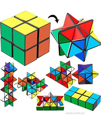 4 Pieces 2 in 1 Combo Infinity Cube Toy Magic Star Cube Transforming Geometric Puzzle Toys Cool Fidgets Mini Shape Transforming Cube for Teens and Adults