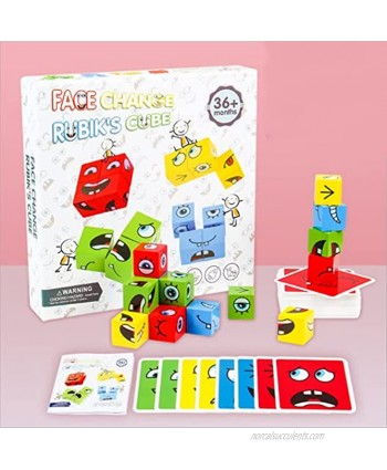 Expression Puzzle Building Cubes Wooden Face-Changing Magic Cube Building Blocks Matching Game Logical Thinking Training Brain Toy Borad Games Educational Montessori Toys B