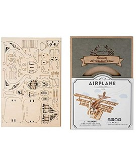 Airplane DIY 3D Wooden Puzzle Model Kit Laser Cut Wooden Puzzle Craft Kit Brain Teaser and Educational STEM DIY Building Model Toy TG301