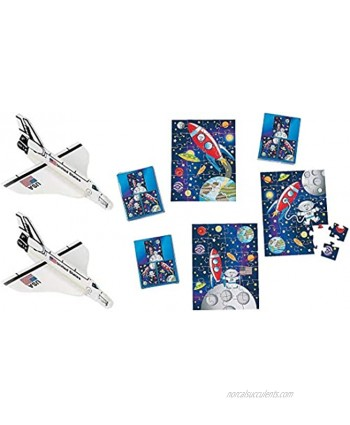 Space Shuttle Foam Gliders and Puzzles   24 pc Space & Astronaut Party Bundle  