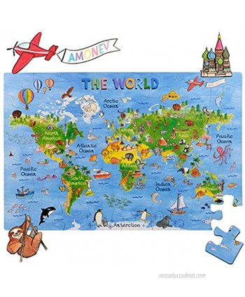 World Map Big Floor Puzzle with Thick Jigsaw Puzzle Pieces which can Also be Used on a Table are Great Floor Puzzles for Kids Ages 4-8 Years and Older World Map Puzzle World Map Puzzle