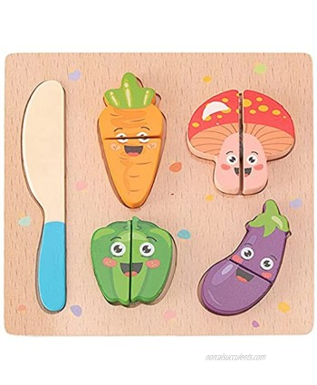 CUCOS Wooden Cutting Puzzles for Kids Ages 1-5 Years Old Vegetable Toddler Puzzles Learning Toys Educational Gift for Girls and Boys