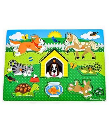 Melissa & Doug Pets Wooden Peg Puzzle 8 pcs