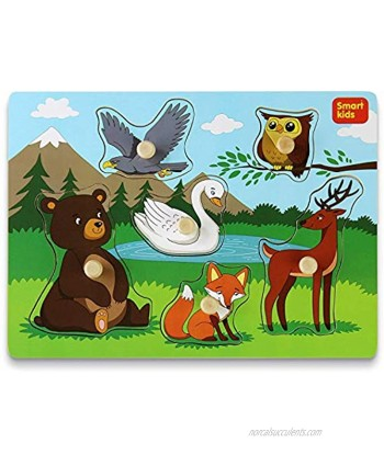 Smart Kids Wooden Puzzles for Toddlers – Toddler Puzzles Set Forest Animals Thick Wooden Construction with Big knobs and Hard Box – 6 pcs.