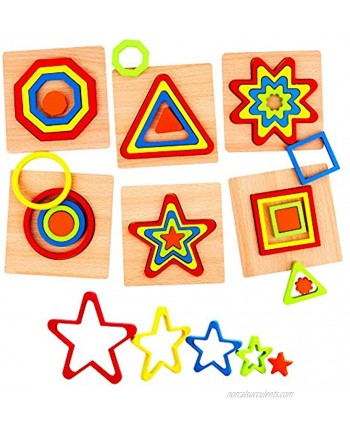 Vanmor 36 Pcs Toddler Puzzles Shape Puzzle Wooden Puzzles for Toddlers Montessori Toys for 2 3 4 5 Year Old Kids Puzzles for Kids Ages 2-4 Baby Puzzles Preschool Learning Activities Best Toddler Gift