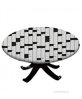 """Round Tablecloth with Elastic Edges Classical Crossword Puzzle with Black and White Boxes and Numbers Word Search Puzzle Design 48"""" Diameter Black and White"""