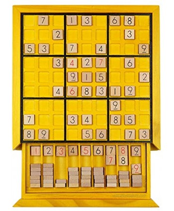KAILIMENG Wooden Sudoku Board Game with Drawer 81 Grids Number Place Wood Puzzle for Kids and Adults