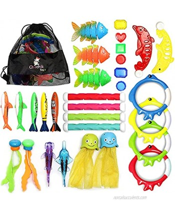 Chuchik Diving Toys 30 Pack Swimming Pool Toys for Kids Includes 4 Diving Sticks 4 Diving Rings 6 Pirate Treasures 3 Toypedo Bandits 9 Fish Toys 4 Octopus Water Toys with a Storage Net Bag
