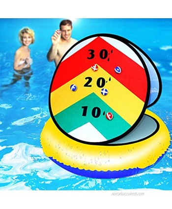 """Pool Game Toys Inflatable Pool Ring Toss Game Pool Toys for Teens and Adults with Pool Floats Rafts Sticky Balls 24"""" Summer Toys Yard Games Party Birthday Gifts for Kids Cornhole Board Beach Toys"""