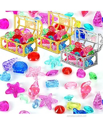 Sumind 60 Pieces Halloween Pirate Gem Jewelry Treasure Toys with 3 Treasure Chests Diamonds Pool Toys Activity Party Decorations for Pirate Adventure Themed Event Party Decorations