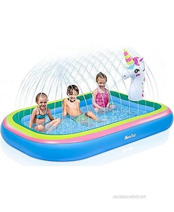 "iBaseToy Unicorn Sprinkler Pools for Kids Splash Pad Inflatable Kiddie Pool for Outside Splash Mat Baby Paddling Pool for Backyard Water Sprinkler Toys Games for Summer Outdoor Toddlers Play 68"""