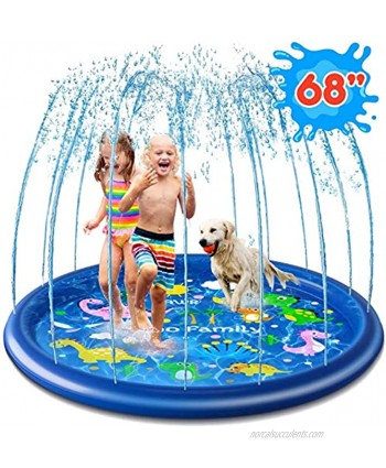 """Ohuhu Splash Sprinkler Pad for Kids Toddlers 68"""" Splash Play Mat Outdoor Inflatable Water Play Sprinkler Pad for Boys Girls Summer Spray Water Toys Wading Swimming Pool for Age 3 4 5 6 7 8 9 10"""