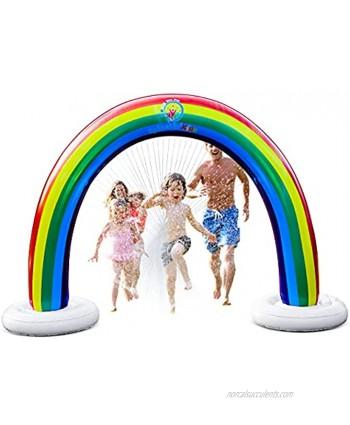 Splashin'kids Outdoor Rainbow Sprinkler Super Toddler Water Toys for Children Infants Boys Girls and Kids Perfect Outside Inflatable Water Park for Summer Fun Watch Video Slip and Slide Splash pad
