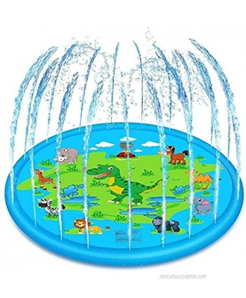 Sprinkler for Kids Splash Play Mat 67x67inch Outside Outdoor Summer Water Toys for 1-12 Years Old Wading Learning Pad Swimming Party Favors Gift for Children Toddlers Boys Girls Dinosaur Green