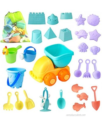 Beach Sand Toys Set for Kids 28Pcs Sand Toys with Mesh Bag Includes Sand Truck  Castle Bucket Watering Can Shovel Tool Kit Sand Molds Sandbox Toys Summer Outdoor Beach Toys for Toddlers Gift