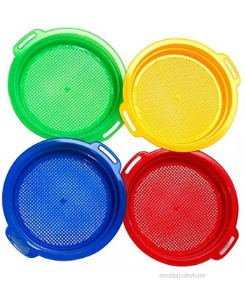 Holady 4 Pack Multicolor Sand Sifter Sieves,Plastic Sand Sifter for Backyard Park Party Favor Sand and Beach4 Colors