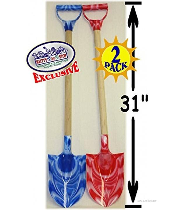 Matty's Toy Stop 31 Heavy Duty Wooden Kids Sand Shovels with Plastic Spade & Handle Blue Swirl & Pink Swirl Twin Set Bundle 2 Pack