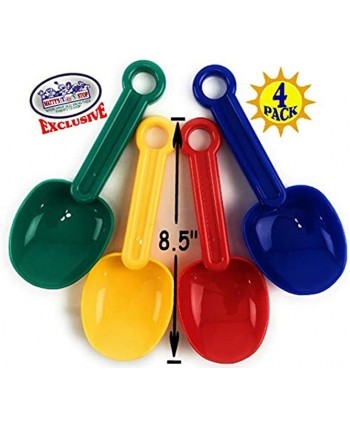 """Matty's Toy Stop 8.5"""" Plastic Rounded Scoop Sand Shovels for Kids Red Blue Green & Yellow Complete Gift Set Party Bundle 4 Pack"""