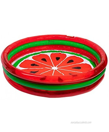 3-Ring Pool Watermelon Style   Kids Outdoor Inflatable Games   Blow Up Pool for Adults Toddlers & Babies   Summer Indoor & Outdoor Play Set   Swimming Toys for Kids   Portable Party Float