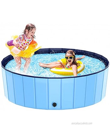 Foldable Kiddie Pool Hard Plastic Swimming Pool for Kids Large48''×15.8''  Summer Portable Kids Play Pool Dog Water Pond Pet Bathing Tub Wash Tub Toddlers Ball Pit for Kids Pets Dogs Cats