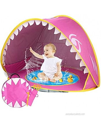 iGeeKid Baby Beach Tent Pop Up Shark Baby Pool Tent with Portable Sun Shelter Tent UPF 50+ UV Protection & Waterproof Sun Tent Beach Shade Baby Beach Accessories for Toddler Infant Aged 3-48 Months