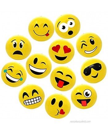 """12"""" Emoji Party Pack Inflatable Beach Balls Beach Pool Party Toys 12 Pack"""