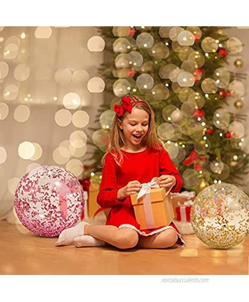 Glitter Beach Balls 24 Inch 3 Pack Inflatable Beach Ball with Confetti Glitters Beach Toys for Kids Adults Airtight Swimming Pool Balls Colorful Summer Party Favors Outdoor Water Games