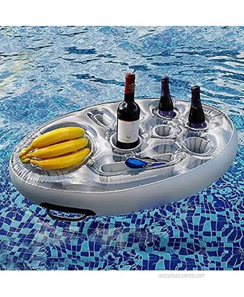 8 Hole Inflatable Float Beach Pool Tray Large Inflatable Beach Pool Drink Holder Floating Serving Bar Hot Tub Swimming Pool Accessories Cup Holder Floating Table for Adults