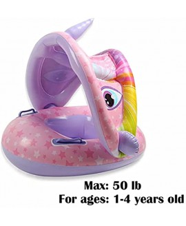 Baby Swimming Float Unicorn Infant Pool Floaties with Canopy for Age1-4 Years Old
