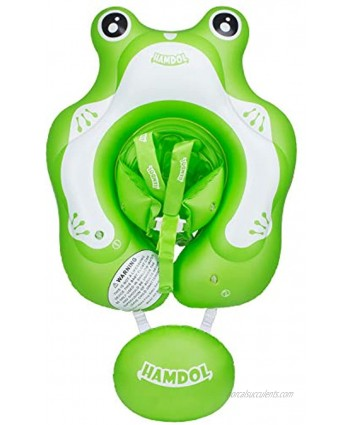 Inflatable Baby Swimming Float Ring Baby Pool Floatie Baby Water Float Infant Swim Pool Rings with Safe Bottom Support & Swim Buoy Float for Toddler Kid Age 3-30 Months Frog Floaty Large