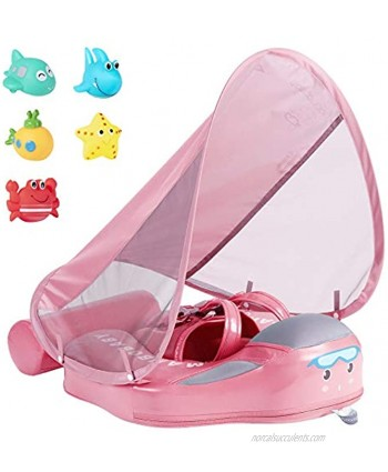 JOYOOSS Mambobaby Baby Swimming Pool Float with UPF 50+ UV Sun Canopy Add Tail Infant Pool Float Swimming Trainer Non-Inflatable Waist Swim Ring for Baby Toddler