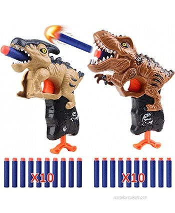 2 Pack Dinosaur Shooting Toys Foam Blasters with 20 Soft Foam Dart Bullets Shooting Game Toy for Boys Ages 5 6 7 8 9 10 Gifts Tyrannosaurus & Parasaurus
