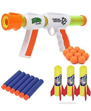 TeganPlay Toy Foam Blasters & Guns Atomic Power Popper Ball Gun Toy 3 in 1 Shooter for Kids Includes Foam Balls Rockets and Bullets