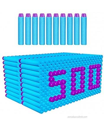 AMOSTING Refill Darts 500pcs Bulk Bullets Ammo Pack for Nerf Fortnite N-Strike Elite Strike Series Guns Blue 500baby Blue