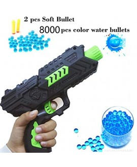 Toy CS Game Gun Shooting 2-in-1 Air Soft Foam Bullet and 8000pcs Water Polymer Ball Pistol Projectile Green