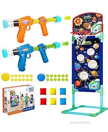 2NLF Shooting Game Toy for 5 6 7 8 9 10+Kids,2pk Foam Ball Popper Toy Guns,Scoring Standing Shooting Target with Basket & 24 Foam Balls & 6 Bean Bags & 2 Mini Basketball,Ideal Gifts for Boys Girls