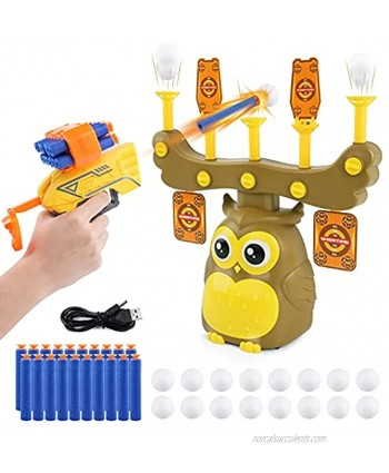 JELOSO Floating Shooting Targets Owl Hover Balls Shoot Practice Games Toys Gifts for 6+ Year Old Kids Boys Girls for Nerf Guns Toys with Foam Darts Guns & Bullets Clip,7 Targets,16 Floating Balls