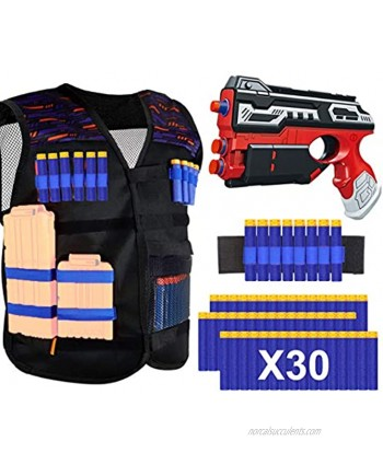 POKONBOY Tactical Vest Kits Compatible with Nerf Guns N-Strike Elite Series Blaster Gun and Tactical Vest with Refill Darts and Wristband for Boys Girls