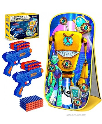 YEEBAY Shooting Game Toy for Age 5 6 7 8 9 10+ Years Old Kids Boys 2pk Foam Bullets Toy Guns & Robot Shooting Target for Indoor Outdoor Play Ideal Birthday Compatible with Nerf Toy Guns
