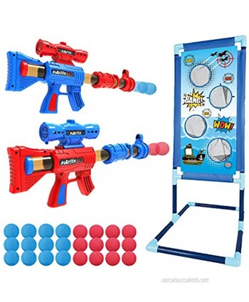 YEEBAY Shooting Game Toy for Age 6 7 8,9,10+ Years Old Kids Boys 2pk Foam Ball Popper Air Guns & Shooting Target & 24 Foam Balls Ideal Gift Compatible with Nerf Toy Guns