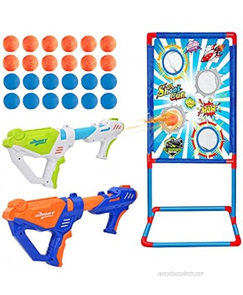 Ylovetoys Shooting Game Toy for Age 4 5 6 7 8 9 10+ Years Old Kids Boys Gift with Standing Shooting Target 2 Foam Ball Popper Air Guns 24 Foam Balls for Outdoor & Indoor Activity
