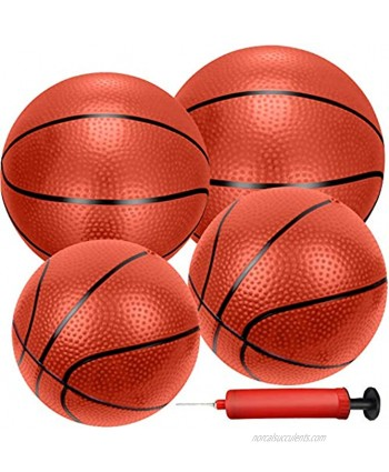 Liberty Imports 4 PCS Inflatable Mini Basketball Toy Replacement Rubber Balls with Pump and Needle for Indoor Toy Miniature Hoop or Sports Training Mixed