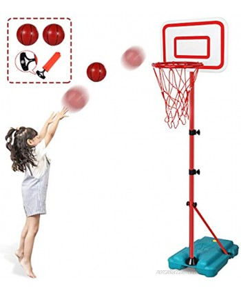 Tsomtto Kids Basketball Hoop Stand Adjustable Height 2.9 ft -6.2 ft Indoor Basketball Hoop Outdoor Toys Outside Backyard Games Mini Hoop Basketball Goal Gifts for Boys Girls Toddlers Age 3 4 5 6 7 8
