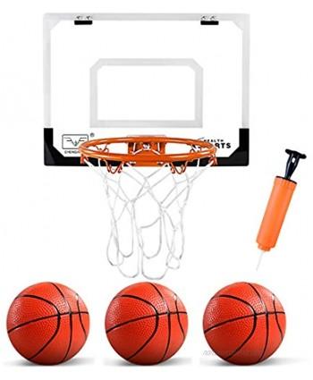 "ZNCMRR Kids Indoor Mini Basketball Hoop Set Complete Basketball Game for Door All Accessories with 3 Balls,16"" x 12"" Basketball Hoop"