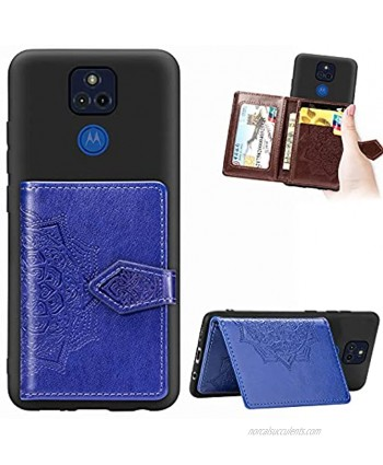 Ostop Wallet Case Compatible with Blackview A80 Cover Vintage Business Purse with Card Slots,Premium PU Leather Embossed Mandala Flip Shell with Magnetic Clasp and Stand,Dark Blue