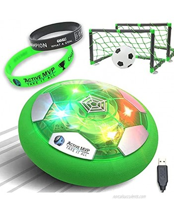 ActiveMVP Kids Toys Rechargeable Hover Soccer Ball Set with 2 Goals Green + 2 Motivational WRISTBANDS Indoor Soccer Games LED Light Up No Battery Needed Toddlers Boys Girls Age 3 4 5 6 7 8 9 11+