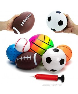 beetoy 6 Pcs Inflatable Sport Toddler Balls Set with Pump for Toddler Includes Football Basketball Volleyball Baseball Rugby Spike and Bag Backyard Game Outdoor Sports for Kids