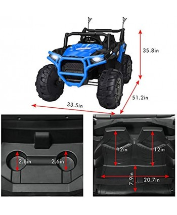 BAHOM 12V Kids Ride on Truck 2 Seater Electric Cars for Toddlers with Remote Control LED Light MP3 Bluetooth Music Player Easy to Assemble Blue