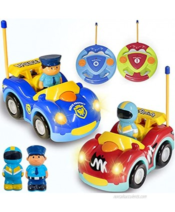 Haktoys Remote Control Cartoon Police Car and Race Car RC Radio Control Toys for Toddlers and Kids Pack of 2 Cars in Different Frequencies so That Two Players Can Play Together