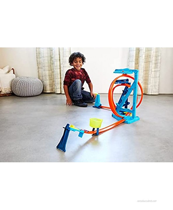 Hot Wheels Track Builder Unlimited Infinity Loop Kit with Adjustable Set-Ups & Jump That Flips Cars into Catch Cup for Kids 6 to 12 Years Old with One 1:64 Scale Hot Wheels Vehicle